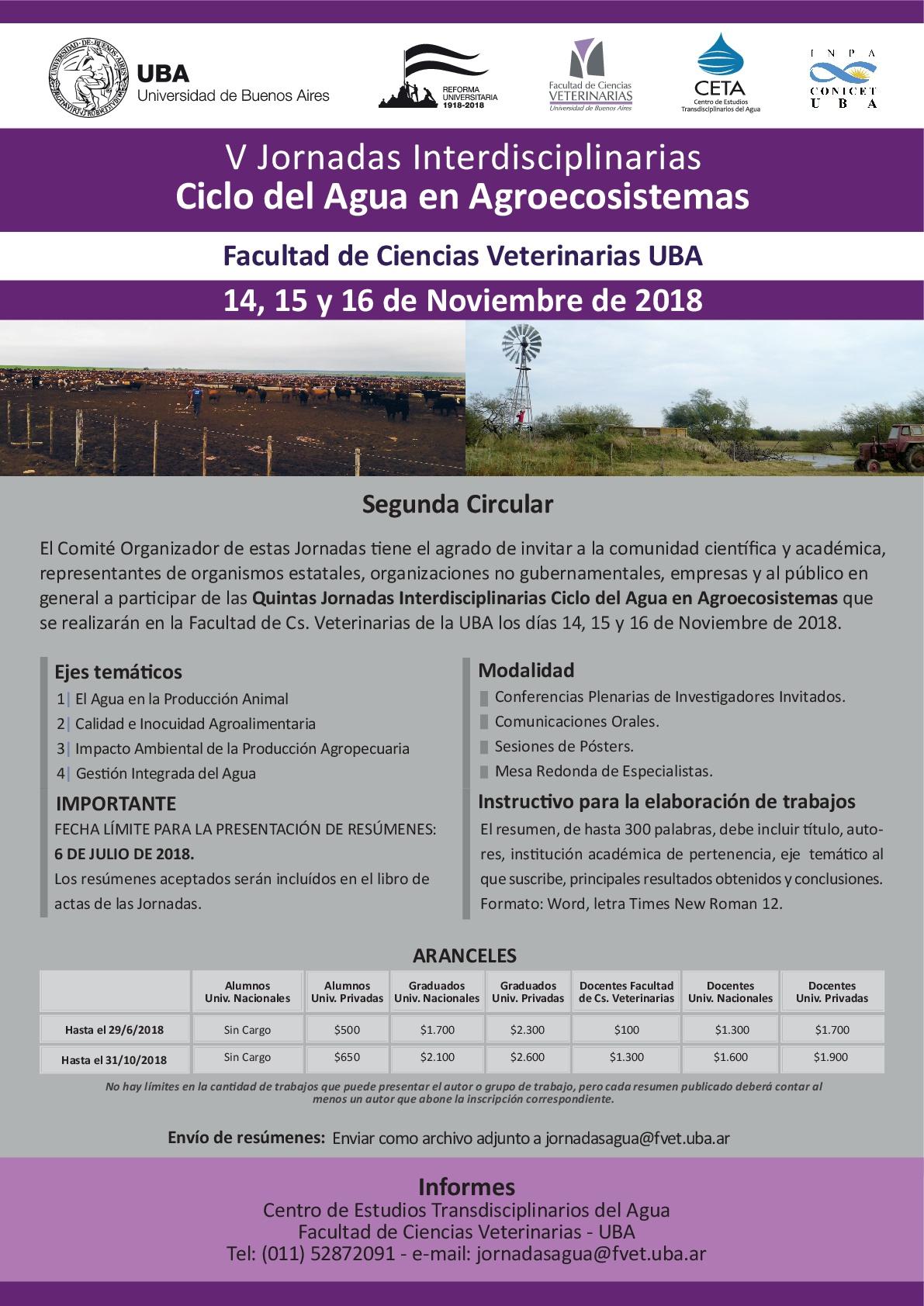 Segunda Circular Jornadas Agua 2018 FCV-UBA-001